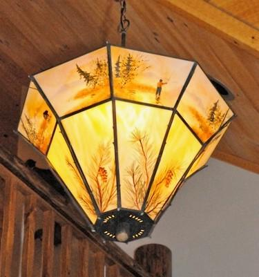 Custom Stained Gl Rustic Lighting Lodge Decor